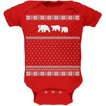 Polar Bears Ugly Christmas Sweater Red Baby One Piece