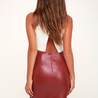 She's Irresistible Wine Red Vegan Leather Pencil Skirt