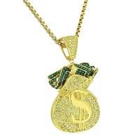 Money Bag $ Pendant Iced Out Canary Simulated Diamonds Stainless Steel Chain 24""