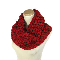 Red Cowl, Outlander Inspired Cowl, Claire Inspired, Chunky Cowl, Hand Knit Scarf, Circle Scarf, Winter, Women, Fiber Art