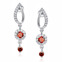 Flora Drop Red and Clear Round Cubic Zirconia Earrings