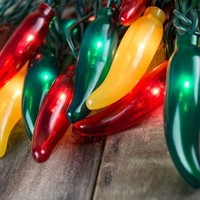 Chili Pepper Fiesta String Lights, Plug-In, 35 Red Green Yellow Bulbs