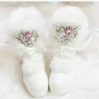 Real Rabbit Fur Winter Boots Rhinestones Diamond Fashion Snow Boots Thick Warm High-Top Women Shoes Large Size 40 Winter Boots