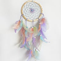 DreamCatcher, Boho Dreamcatcher, Pastel Dream catcher, Pink dreamcatcher Handmade, Wall Hanging, Home Decor, Feathers , Gypsy