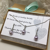 Bridesmaid jewelry set, Bridesmaid gift, bridesmaid necklace, bridesmaid earrings, Wedding jewelry set , Lavender pearl necklace earrings