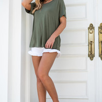 Just Surprise Me Top, Olive