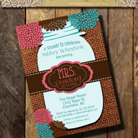 Mrs. MASON JAR Bridal Shower Invitation Burlap and Lace Rustic Rehearsal Dinner Wedding invitations any color Teal Pink Brown