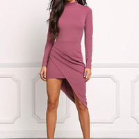 Lavender Asymmetrical Surplice Slit Bodycon Dress