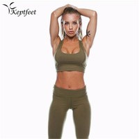 2018 New Sexy 2Pcs Solid Color Women's Sport Wear Gym Yoga Vest Bra Sports Legging Pants Outfit Set Green Clothes