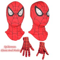 Spider Man Mask Accessories Spiderman Gloves Masks Cosplay Mascaras Halloween Party Dark Avengers Carnaval Costume Kids