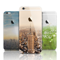 Ultra Thin Soft Silicone TPU Mountain Case Cover For Apple iPhone 6 6s Case Luxury Fashion Transparent Soft Back Cover For Phone