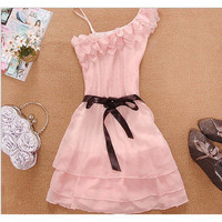 One Shoulder Dress (White/Pink/Beige 3 colors available)