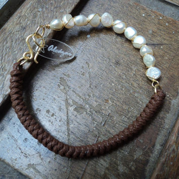 Boho Style Layered macrame and pearls Bracelet, freshwater cultured pearls and waxed cord knotted bracelet