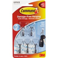 Command Small Clear Wire Hooks with Clear Strips, 5 Hooks, 6 Strips, 17067CLR5-OFBT - Walmart.com