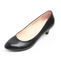 Spring and autumn real leather work black professional low heel shoes with working clothes interview with the stewardess shoes