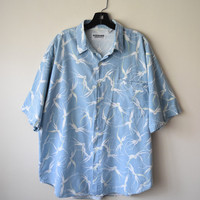 90s Stonewashed Blue Button-Up Shirt in Unusual Spider Orchid Print // Tropical Hawaiian Vacation, Retro Mens Hipster Style // Sz XL