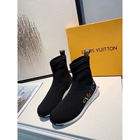 2020 New Louis Vuitton LV Woman Popular Cow Leather sock high - top boots Casual Sneaker  sport shoes best quality