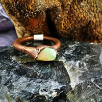 Electroformed Rough Welo Opal Ring Size 7.5