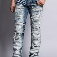Washed and Distressed Slim Jeans