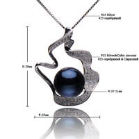 """ELITE Black freshwater Pearl pendant 18"""" 925 Sterling Silver chain 10-11mm pearl necklace"""