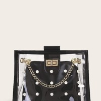 Faux Pearl Decor Clear Chain Bag With Inner Clutch