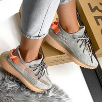 Samplefine2 Adidas Yeezy Boost 350 V2 Hot Sale Men Women Leisure Running Sport Shoes Sneakers Grey&Orange