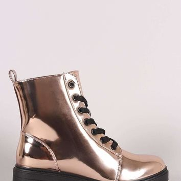 Qupid Metallic Patent Combat Lace-Up Ankle Boots