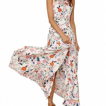 White Floral Halter Open Back Split Maxi Dress
