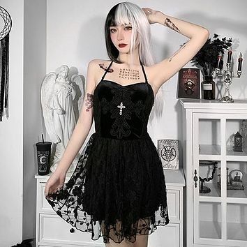 Dress Goth Cross High Waist Black Mini Dresses Vintage Sexy Backless Women Dresses Halter Lace Party Dress
