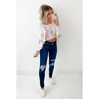 For What Its Worth Tie Dye Knit Top (Ivory/Lavender/Taupe)