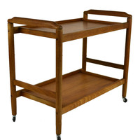 Two Tier Tea or Drinks Serving Trolley Vintage English 1970s