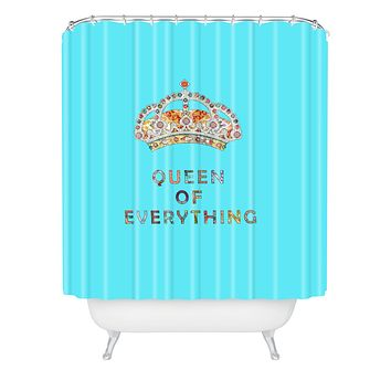 Bianca Green Queen Of Everything Blue Shower Curtain