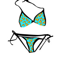 Blue Pizza String Bikini