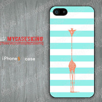 Stripe Giraffe iPhone case Giraffe iPhone5 case Giraffe iPhone 5 case iphone 5 Hard/Rubber case-Choose Your Favourite Color