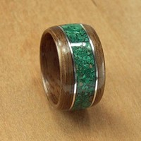 Bentwood Ring Walnut with Marcasite inlay and Sterling Silver accents