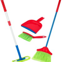 Kids Cleaning Set 4 Piece - Toy Cleaning Set Includes Broom Mop Brush Dust Pan - Toy Kitchen Toddler Cleaning Set Is A Great Toy Gift For Boys & Girls - Original - By Play22