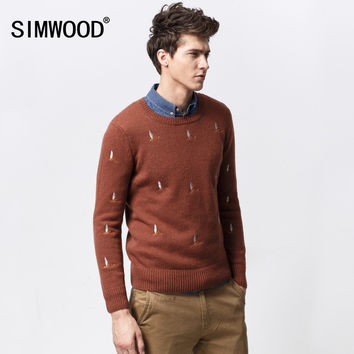Autumn Winter Men Wool Sweater 2016 New Brand O-neck Thick Embroidery Knitted Pullover Mens Sweaters High Quality Plus Size