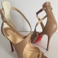 Christian Louboutin Malefissima 100 Criss Cross Leather Strap Peep Nude Sandals
