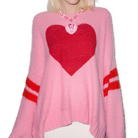 Wildfox Couture Brave Heart Chunky Oversize Sweater Dream House