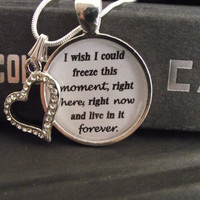"""I wish I could freeze this moment- Hunger Games- buy two get one free- includes a 16"""" or 18"""" snake chain- READY TO SHIP"""