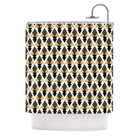 "Nika Martinez ""Glitter Triangles in Gold & Black"" Geometric Shower Curtain"