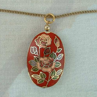 Pink Red Roses Cloisonne Enamel Pendant Necklace 12K Gold Filled Chain