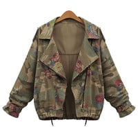 Camouflage Long-Sleeve Notched Jacket