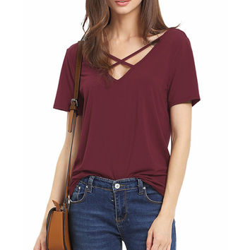 All-match Summer Women TShirts Top Front Cross Loose Casual Cotton T-shirts Short Sleeve V-neck Tops New Sexy T Shirt Tees LX309