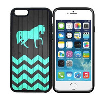 iPhone 6 (4.7 inch display) Designer Black Case - Horse - On Wood Teal Zig Zag Pattern