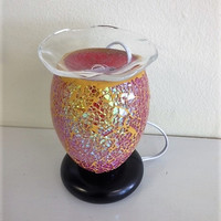Vitral Mosaic Pink/Gold lamp, aromatic oil burner, wax melter