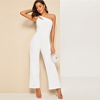 Glamorous Double Strappy One Shoulder Wide Leg Jumpsuit Women Elegant White Jumpsuit Sleeveless High Waist Jumpsuit