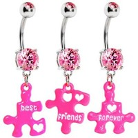 Pink Triple Puzzle Piece Best Friends Forever Dangle Belly Ring Set