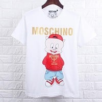 MOSCHINO Summer Couple Cute Pig Print Pure Cotton T-Shirt Top White