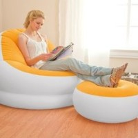 INTEX Inflatable Colorful Cafe Chaise Lounge Chair w/ Ottoman - Orange | 68572E